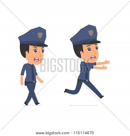 Angry And Frightened Character Constabulary Goes And Runs
