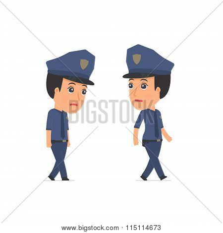 Sad And Frustrated Character Constabulary Goes And Drags