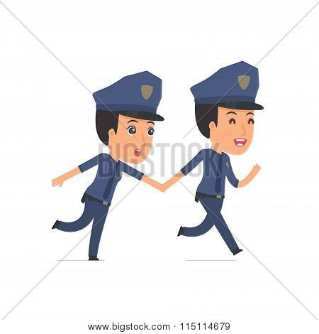 Happy And Joyful Character Constabulary Runs And Drags His Friend To Show Him Something