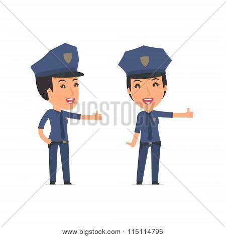 Funny And Cheerful Character Constabulary Showing Thumb Up As A Symbol Of Approval