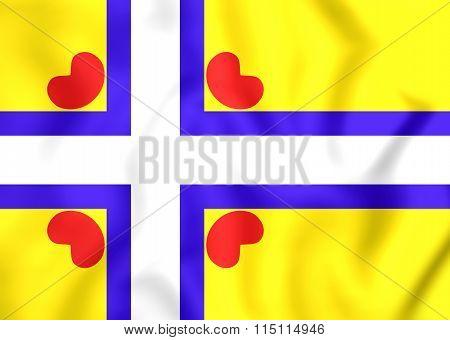 3D All Frisian Flag Scandinavian Cross. Close Up. poster