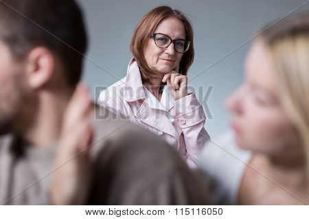 Psychologist And Couple With Problem