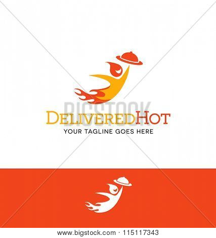flaming character logo for food delivery business