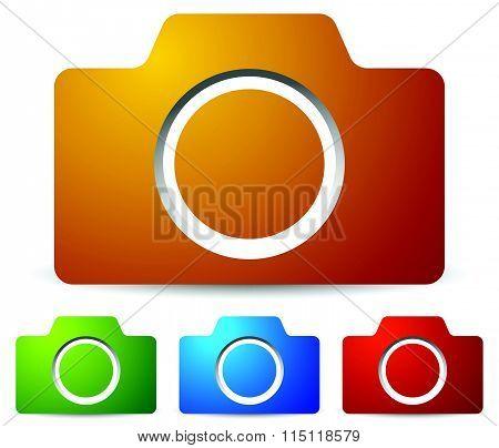 Icons With Photo Camera, Camera Symbol. Vector Illustration.