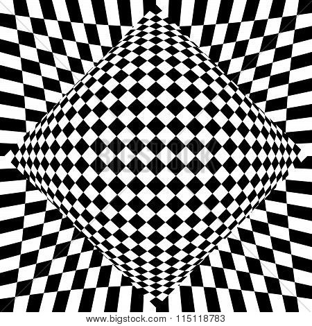 Contrasty Checkered Background. Abstract, Surreal Texture. Vector.