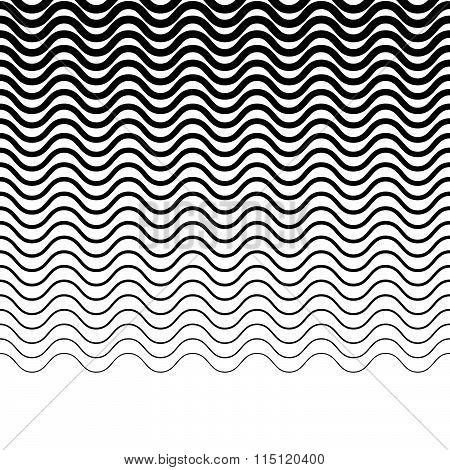 Wavy, Zigzag, Jagged Lines. Horizontally Repeatable Monochrome Pattern.
