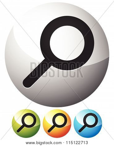 Magnifier / Magnifying Glass Symbol, Icon. Search, Seek, Zoom, Enlarge Subjects.