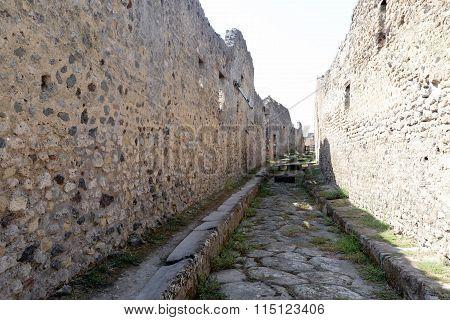 Empty Street In Pompeii Ruins