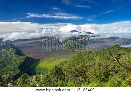 Mount Bromo and Batok volcanoes panorama in Bromo Tengger Semeru National Park, East Java, Indonesia.