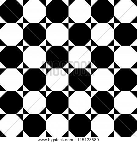 Checkered Pattern With Circles And Squares. Contrasty Background For Your Design