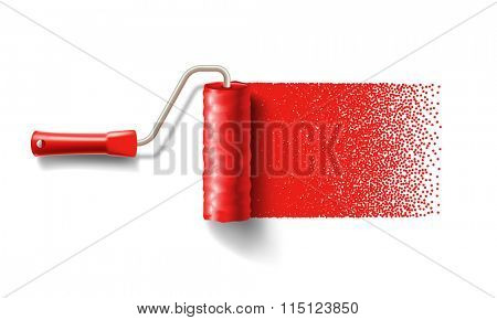 Paint roller brush with red paint track isolated on white background. applicable for banners and labels. Vector illustration.