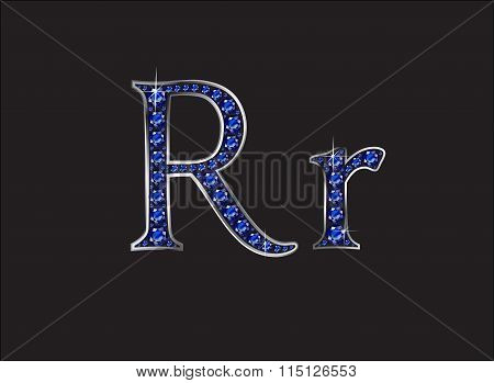 Rr Sapphire Jeweled Font With Silver Channels