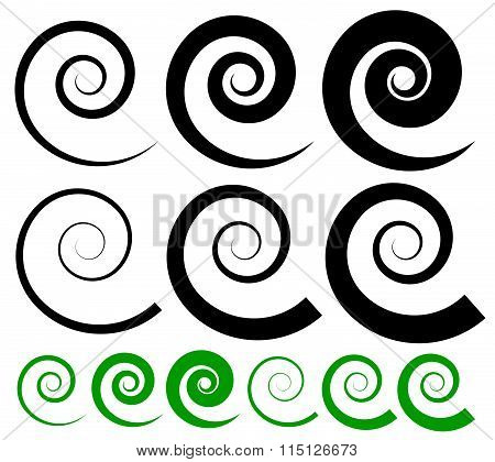 Set Of Spiral Shapes With Two Type Of Lines. Thinner And Thicker Versions.