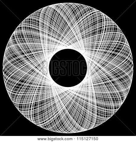 Spirograph Pattern Like Rotating Spiral, Vortex Shape. Abstract Monochrome Element.
