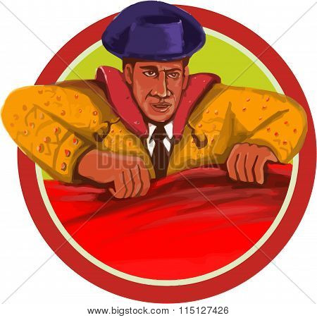 Watercolor style illustration of a matador holding cape facing front set inside circle on isolated background.