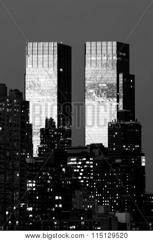 Time Warner Center In New York Black And White