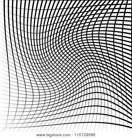 Abstract grid mesh with twirling rotating distortion effect. Intersecting lines monochrome vector pattern. poster
