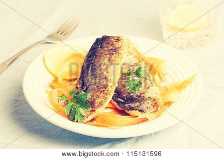 Vintage Photo Of Fried Herring With Parsley