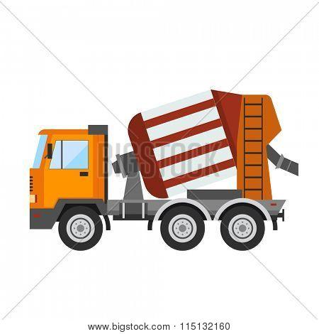 Building under construction cement mixer machine technics vector illustration. Building cement mixer machine truck vector. Under construction vector concept. Mixer vector isolated. Cement mixer
