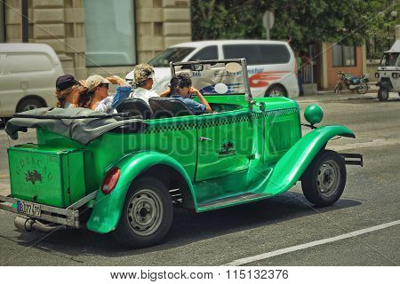CUBA, HAVANA-JULY 6, 2015: Classic american car on a street in Havana. Cubans use the retro cars as