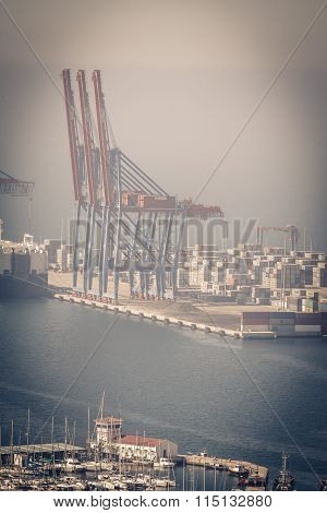 MALAGA SPAIN - MAY 2: Container terminal in the industrial port of Malaga.May 2 2014 in Malaga Andal
