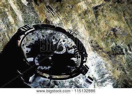 Mounted in crystal lattice watch design artifact