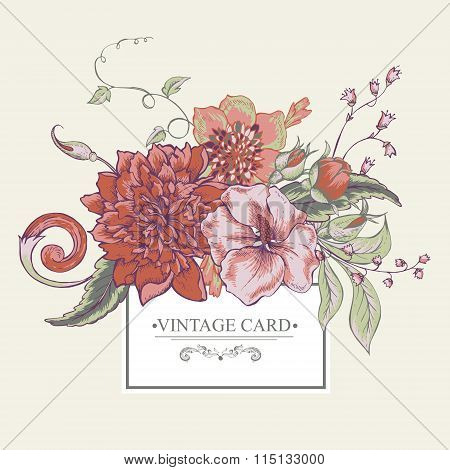Vintage botanical greeting card with blooming peony, hibiscus, swirls and roses buds, hand drawn vector illustration poster