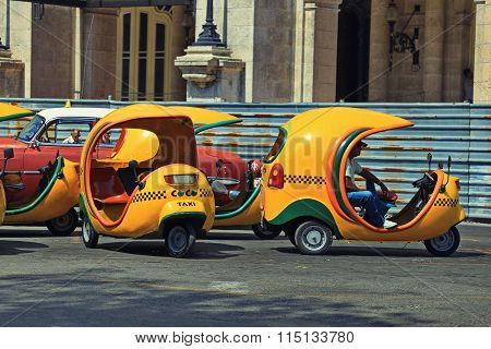 CUBA, HAVANA-JUNE 26, 2015: Cocotaxi is an auto rickshaw-type taxi vehicle in Cuba.
