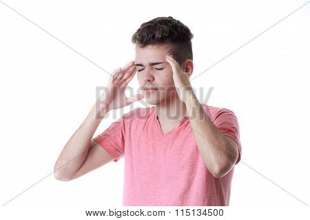 Sinus Pain, Sinus Pressure, Sinusitis. Sad Man Holding His Head Because Sinus Pain