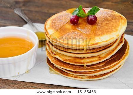 Tasty Pancakes with Cranberry Stack