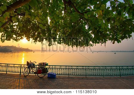 Sunset in West Lake (Ho Tay) in Hanoi
