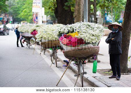 White daisy flower vendor in a street in Hanoi, Vietnam