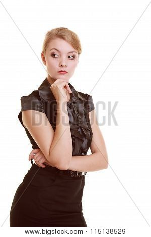 Portrait Of Thougthful Businesswoman Pensive Woman
