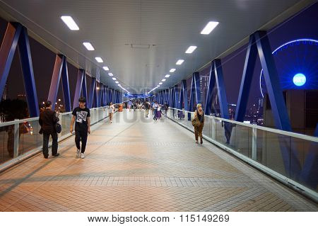 HONG KONG - MAY 05, 2015: footbridge in Hong Kong. A footbridge is a bridge designed for pedestrians and in some cases cyclists, animal traffic, and horse riders, instead of vehicular traffic.