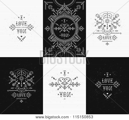 Set of Love card with line romantic and abstract elements
