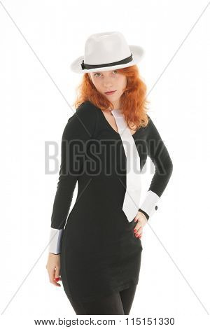 Woman as dandy with hat and neck tie isolated over white background