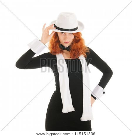 Woman as dandy with hat and opther accessories isolated over white background