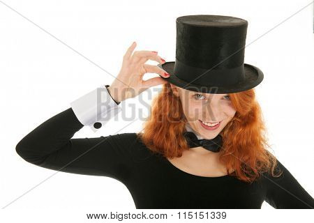 Portrait woman as dandy with black hat isolated over white background