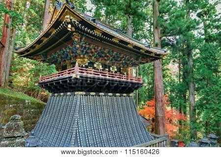 Belfry (Shoro) at Taiyuinbyo - the Mausoleum of Shogun Tokugawa Iemitsu in Nikko, japan poster