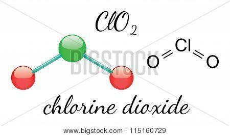 ClO2 chlorine dioxide molecule