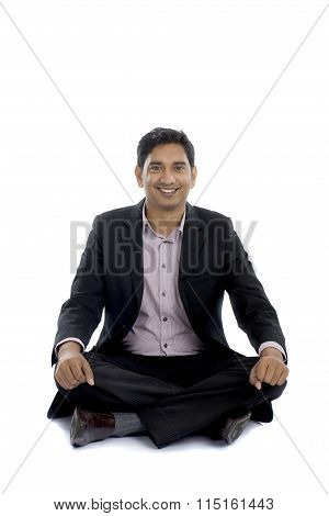 Indian Business Sitting On The Floor
