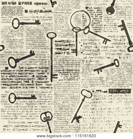 Imitation of newspaper with keys