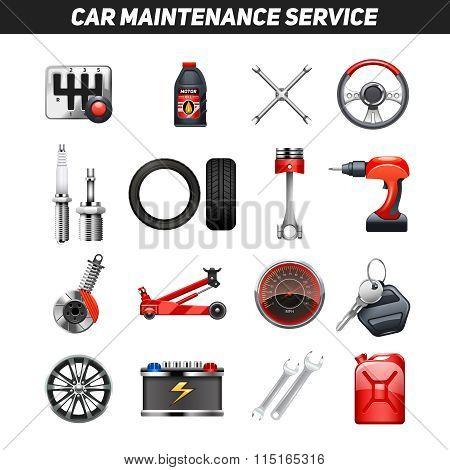 Car Maintenance Service Flat Icons set