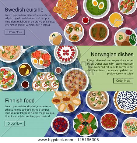 Vector flat illustration banners of finnish, norwegian, swedish national dishes. Egg and jam, meatball and sauce, smushroom and tew, lapskaus and karelian, strawberry and reindeer roast with healthy ingredients. EPS 10 poster