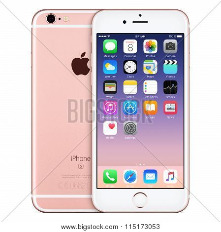 Rose Gold Apple Iphone 6S Front View With Ios 9 On The Screen And Back Side Of The Iphone