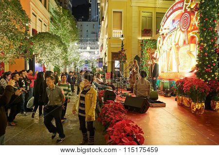 HONG KONG - DECEMBER 25, 2015: Hong Kong at Christmas. Hong Kong is an autonomous territory on the southern coast of China at the Pearl River Estuary and the South China Sea.
