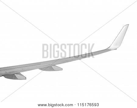 Aeroplane Wing Over Isolated On White - Right  Wing