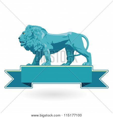 Big monumental profile of blue lion with label.