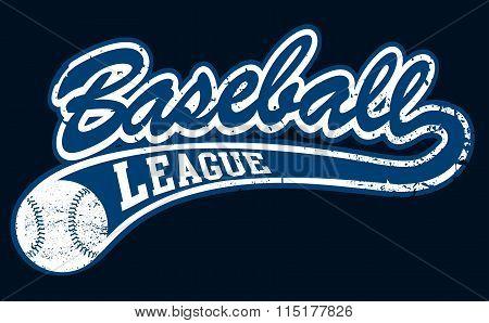 Blue Baseball League Banner With Ball