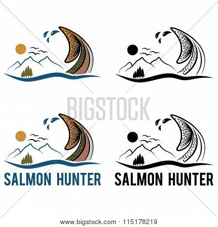 Tail Of Salmon On The Background Of Landscape